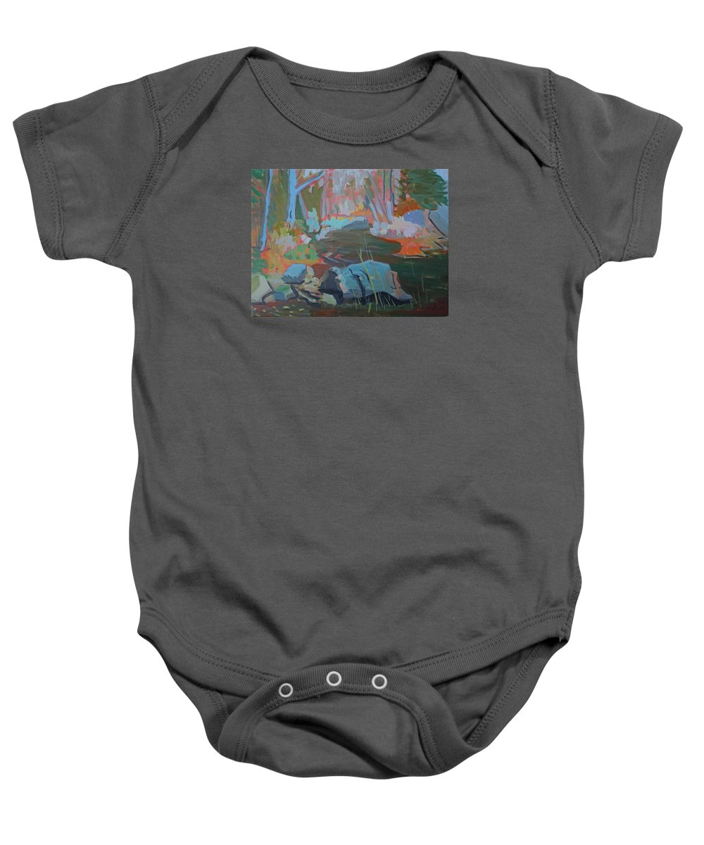 Landscape Baby Onesie featuring the painting Moose Lips Brook by Francine Frank