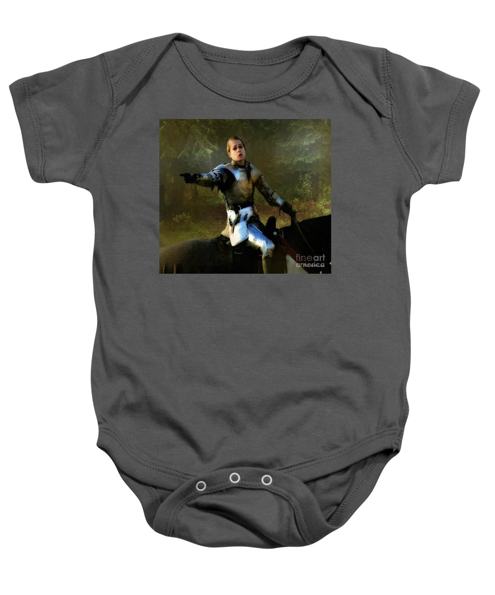 Knight Baby Onesie featuring the painting Mordred Rallies His Troops by RC DeWinter