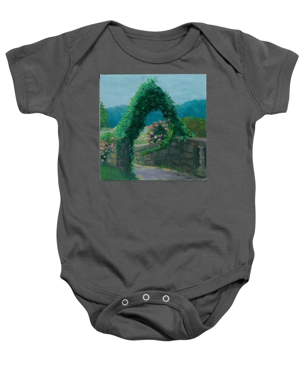 Landscape Baby Onesie featuring the painting Morning At Harkness Park by Paula Emery