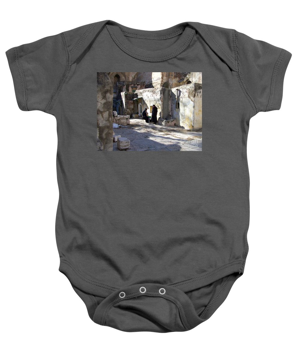 Jerusalem Baby Onesie featuring the photograph Morning Conversation by Kathy McClure