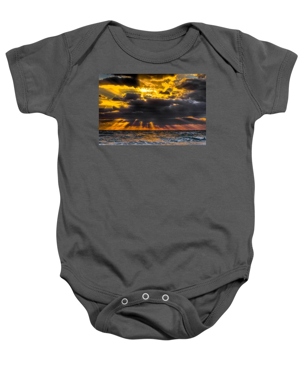 Coral Cove Baby Onesie featuring the photograph Morning Drama by Debra and Dave Vanderlaan