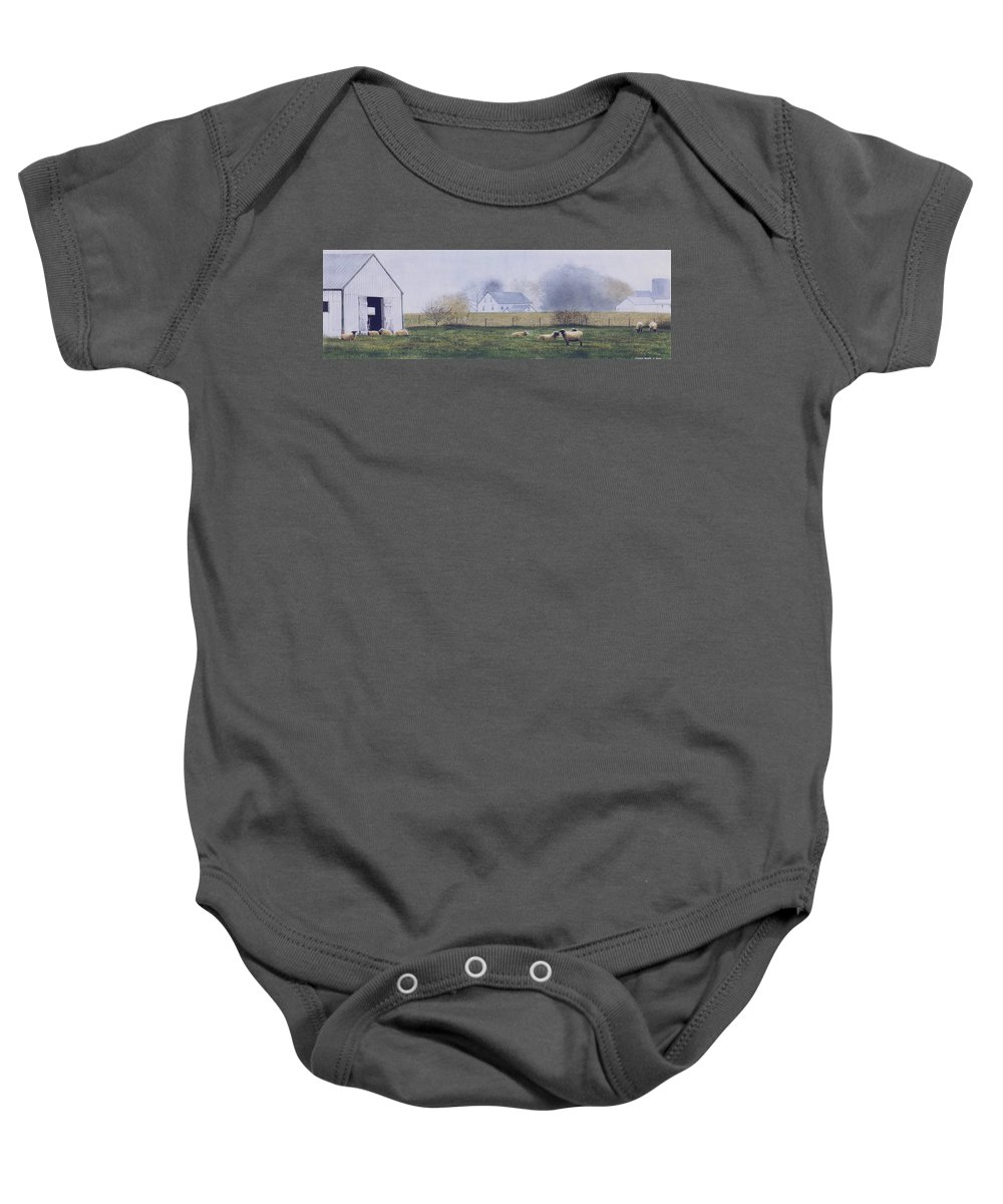 Watercolor Baby Onesie featuring the painting Morning Fog by Denny Bond