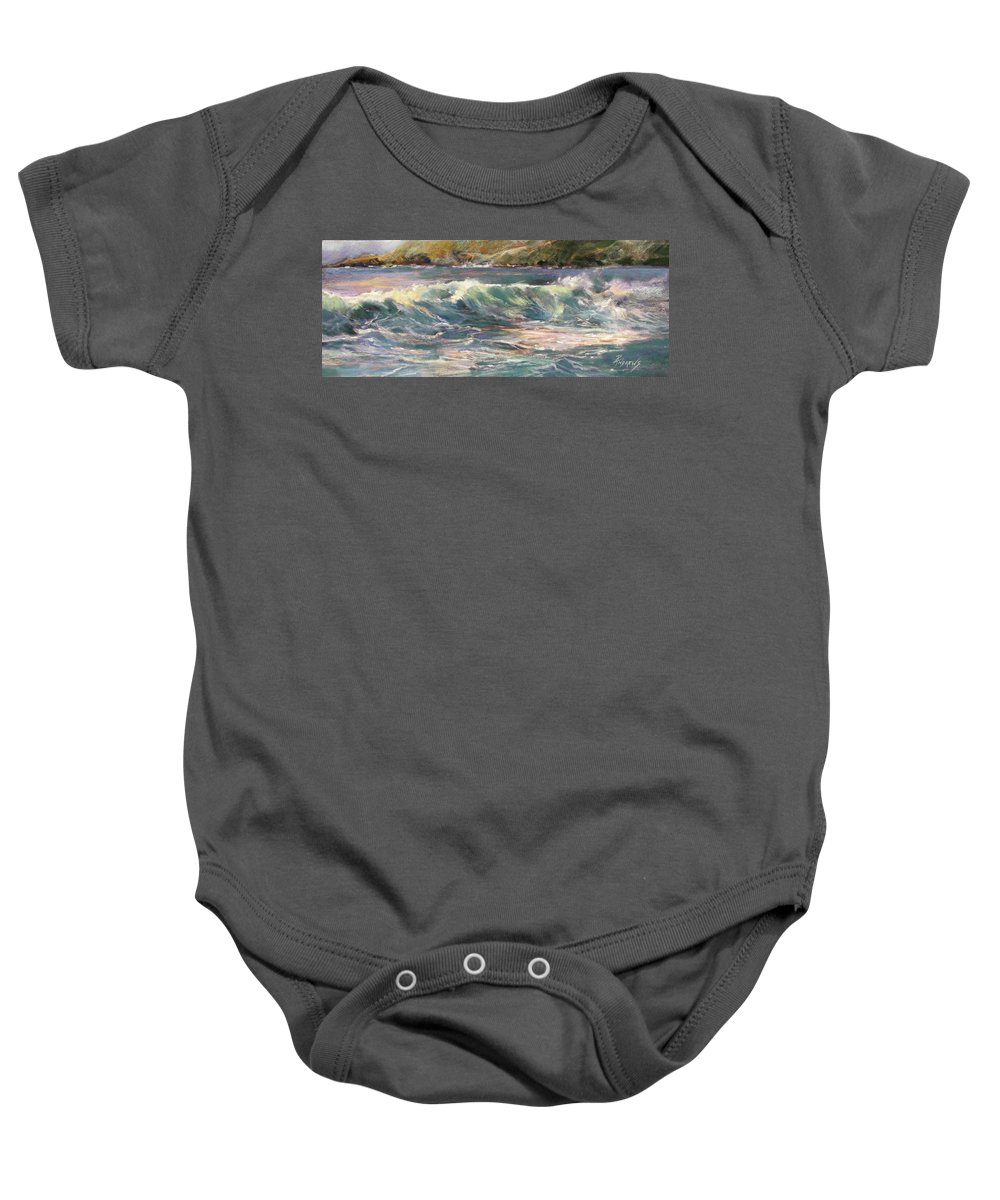 Pastel Baby Onesie featuring the painting Morning Glow On Sugar Beach by Rae Andrews