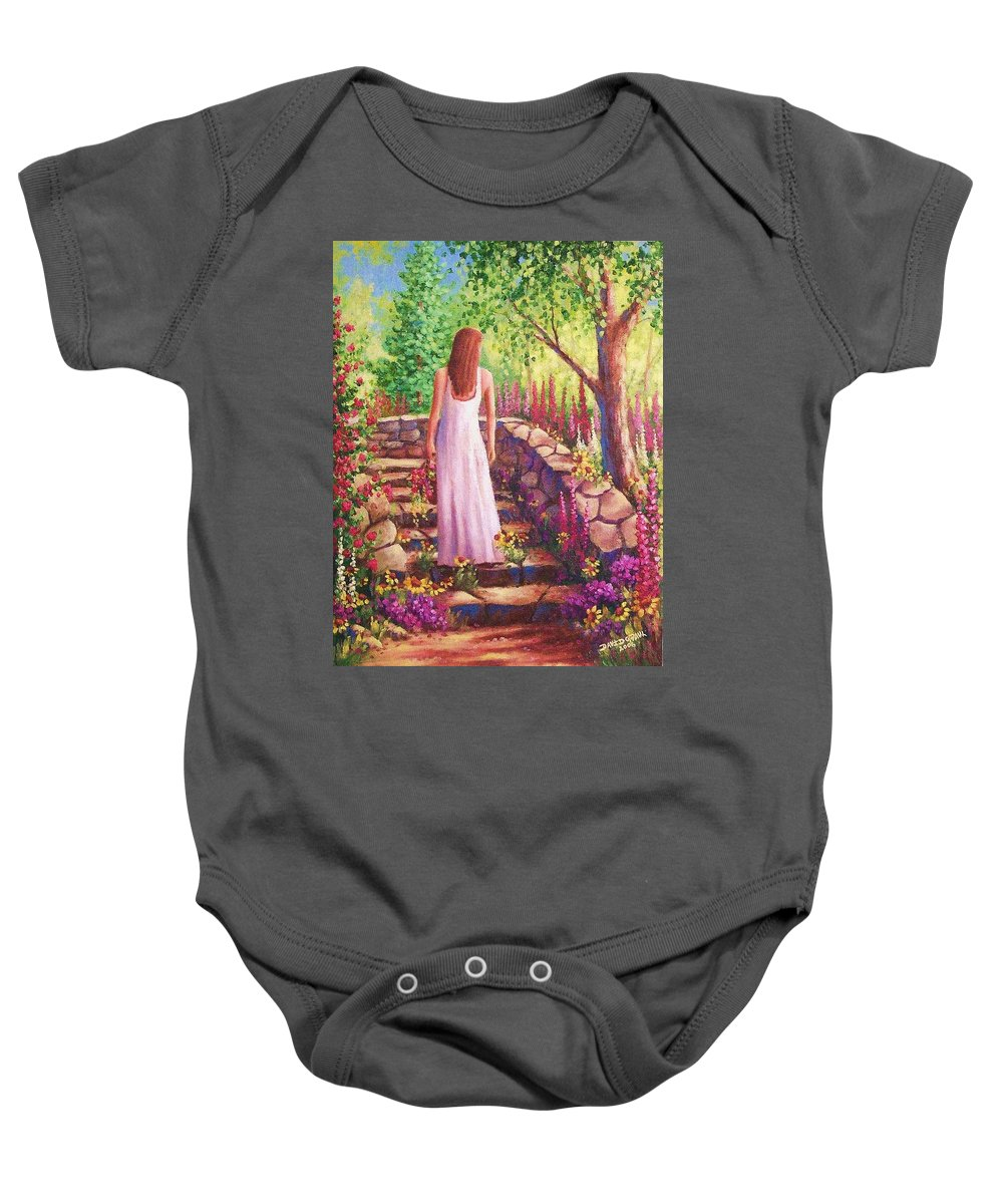 Woman Baby Onesie featuring the painting Morning In Her Garden by David G Paul