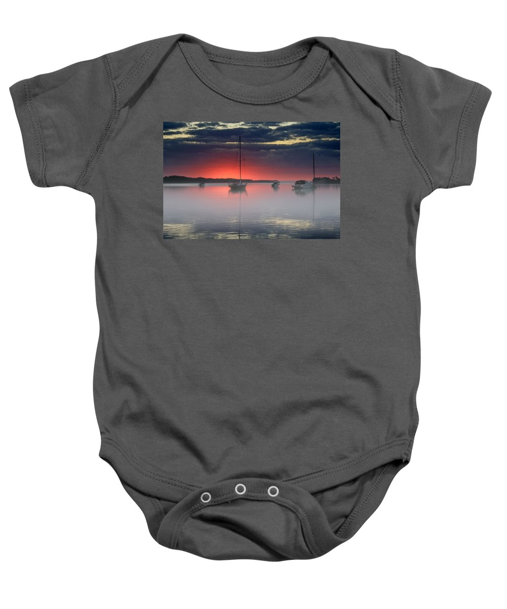 Sunrise Baby Onesie featuring the photograph Morning Mist - Florida Sunrise by HH Photography of Florida