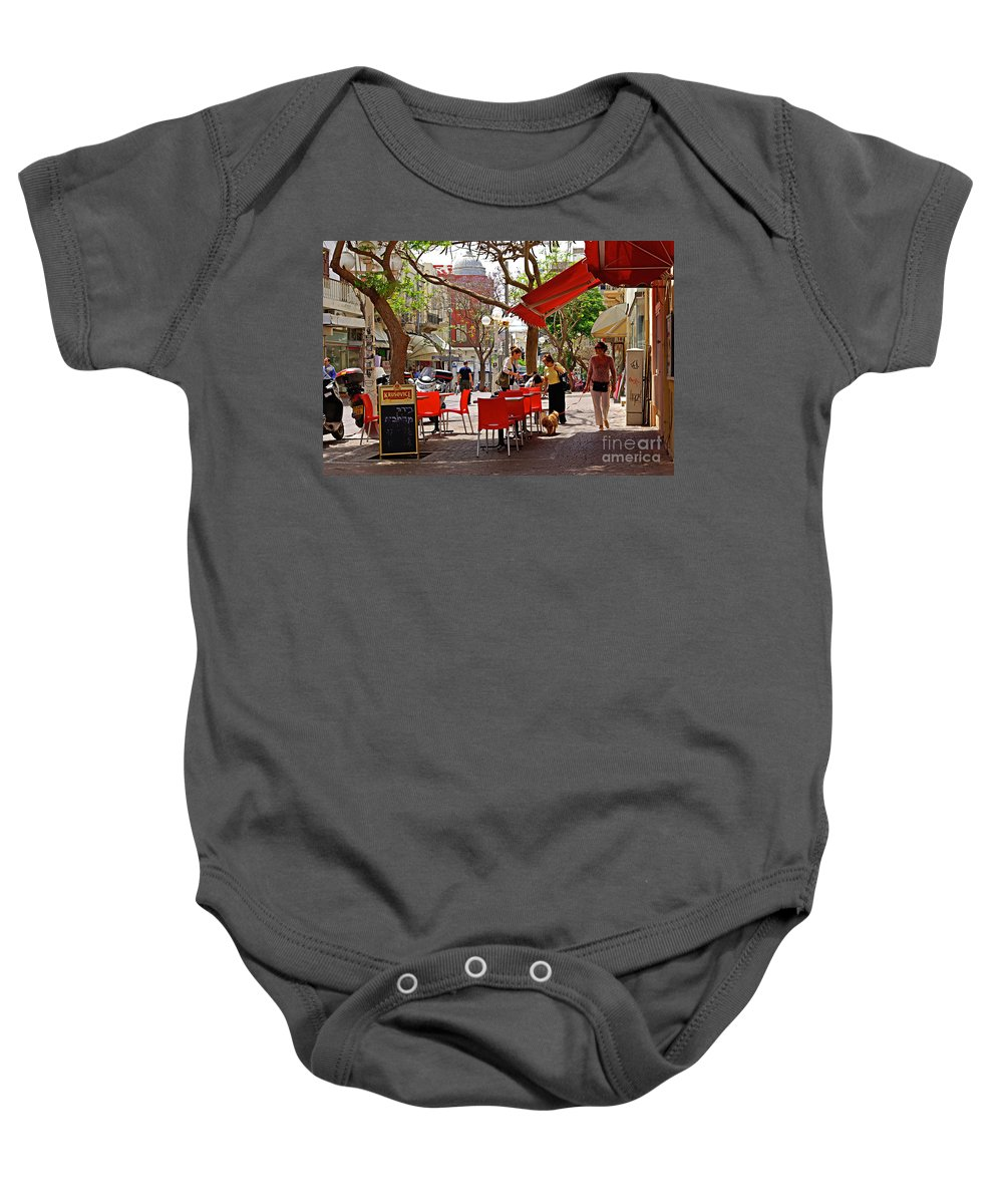 Morning Baby Onesie featuring the photograph Morning On A Street In Tel Aviv by Zal Latzkovich