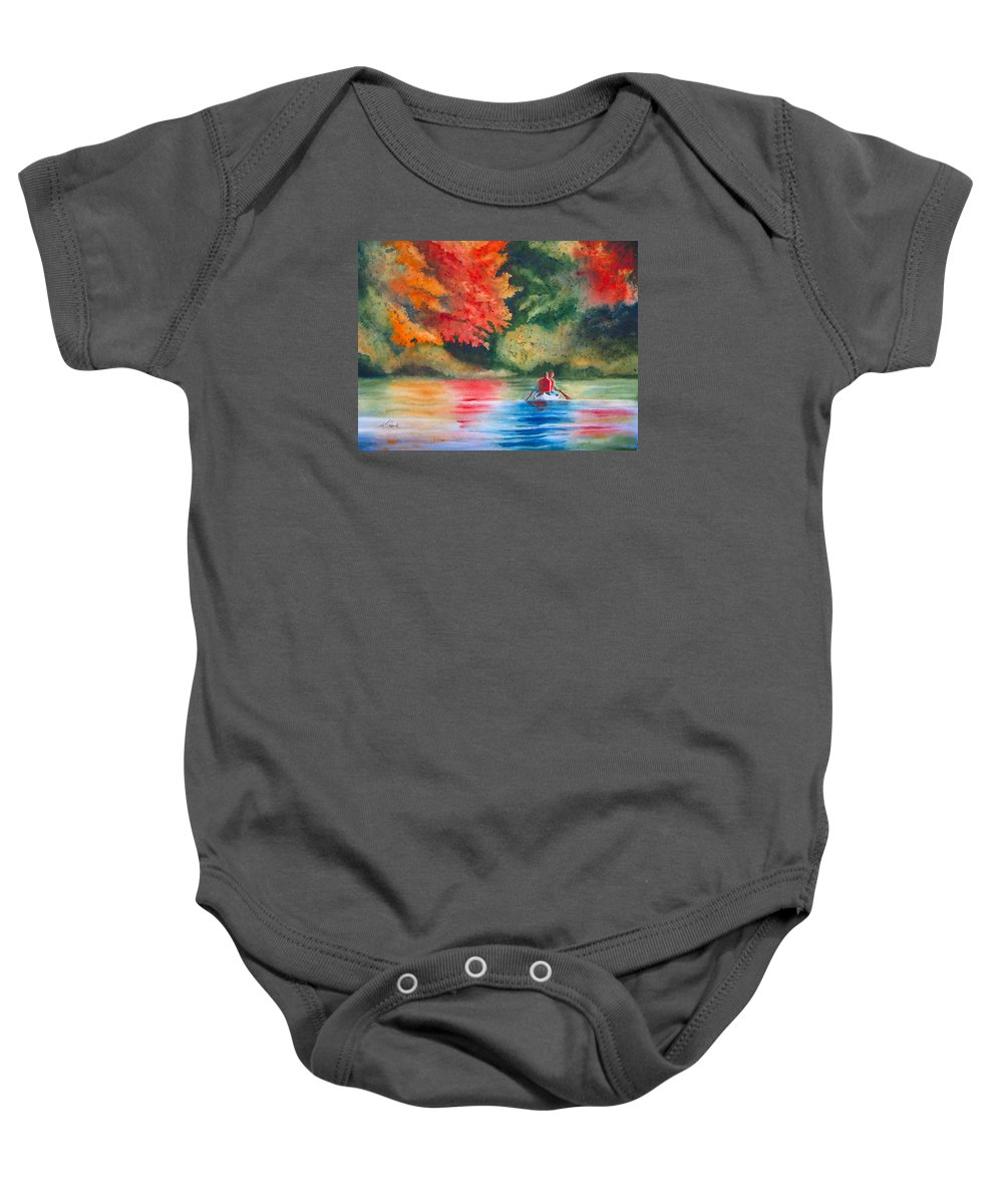 Lake Baby Onesie featuring the painting Morning on the Lake by Karen Stark
