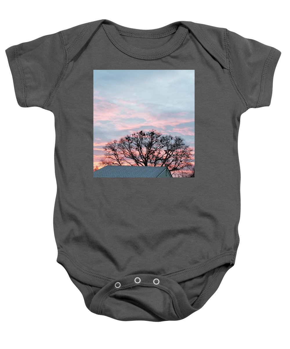 Baby Onesie featuring the photograph Morning Sky 2 by Claire Porter