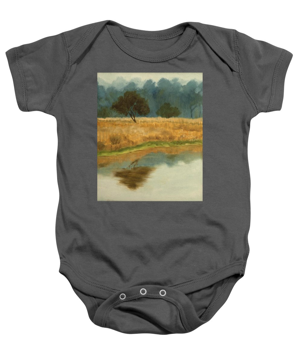 Landscape Baby Onesie featuring the painting Morning Still by Mandar Marathe