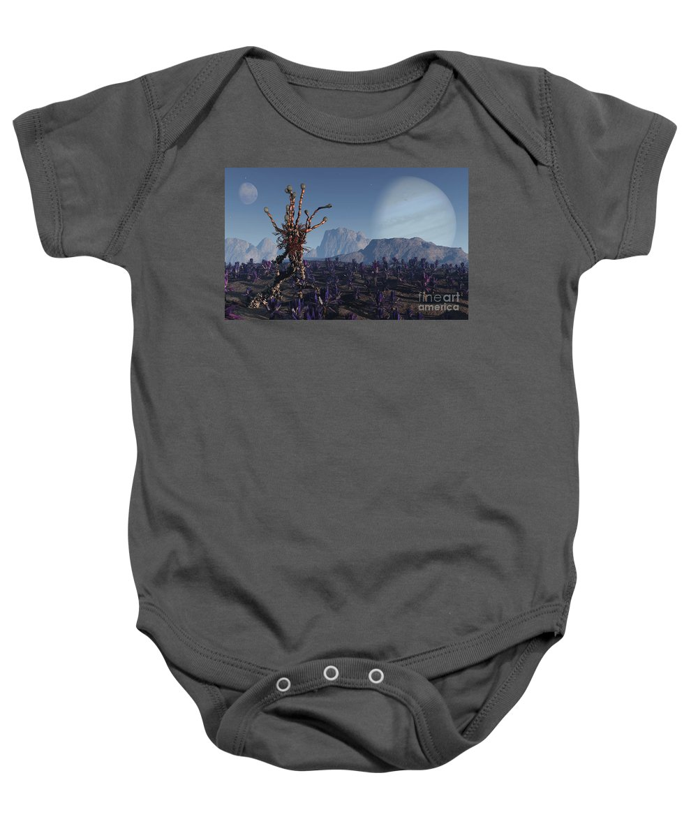 Alien Baby Onesie featuring the digital art Morning Stroll by Richard Rizzo