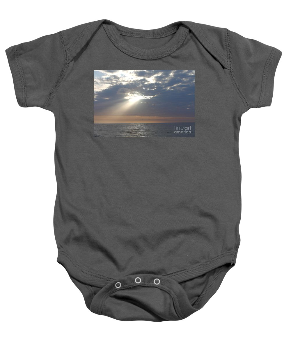 Sky Baby Onesie featuring the photograph Morning Sunburst by Nadine Rippelmeyer