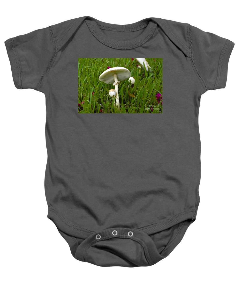 Mushrooms Baby Onesie featuring the photograph Morning Surprise by David Lee Thompson