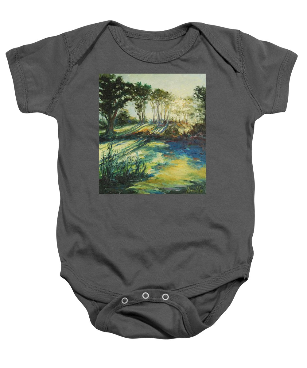 Sunrise Baby Onesie featuring the painting Morning Walk by Rick Nederlof
