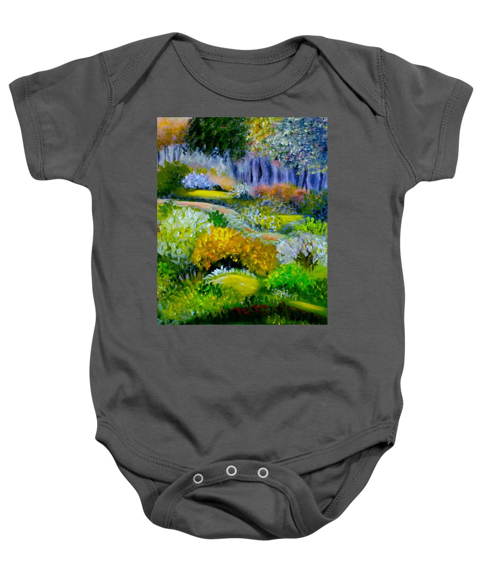 Landscape Baby Onesie featuring the painting Morning Walk by Sandra Young Servis