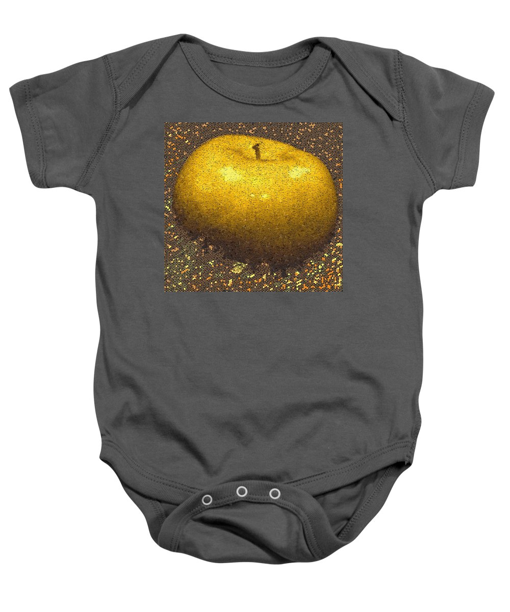 Apple Baby Onesie featuring the digital art Mosaic Apple by Ian MacDonald