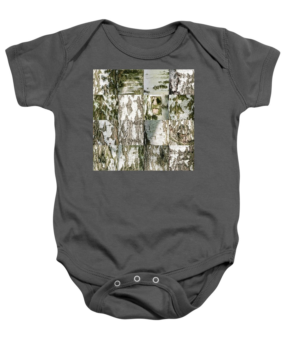 Abstract Baby Onesie featuring the photograph Mosaic Of Brich Bark Texture by Alain De Maximy