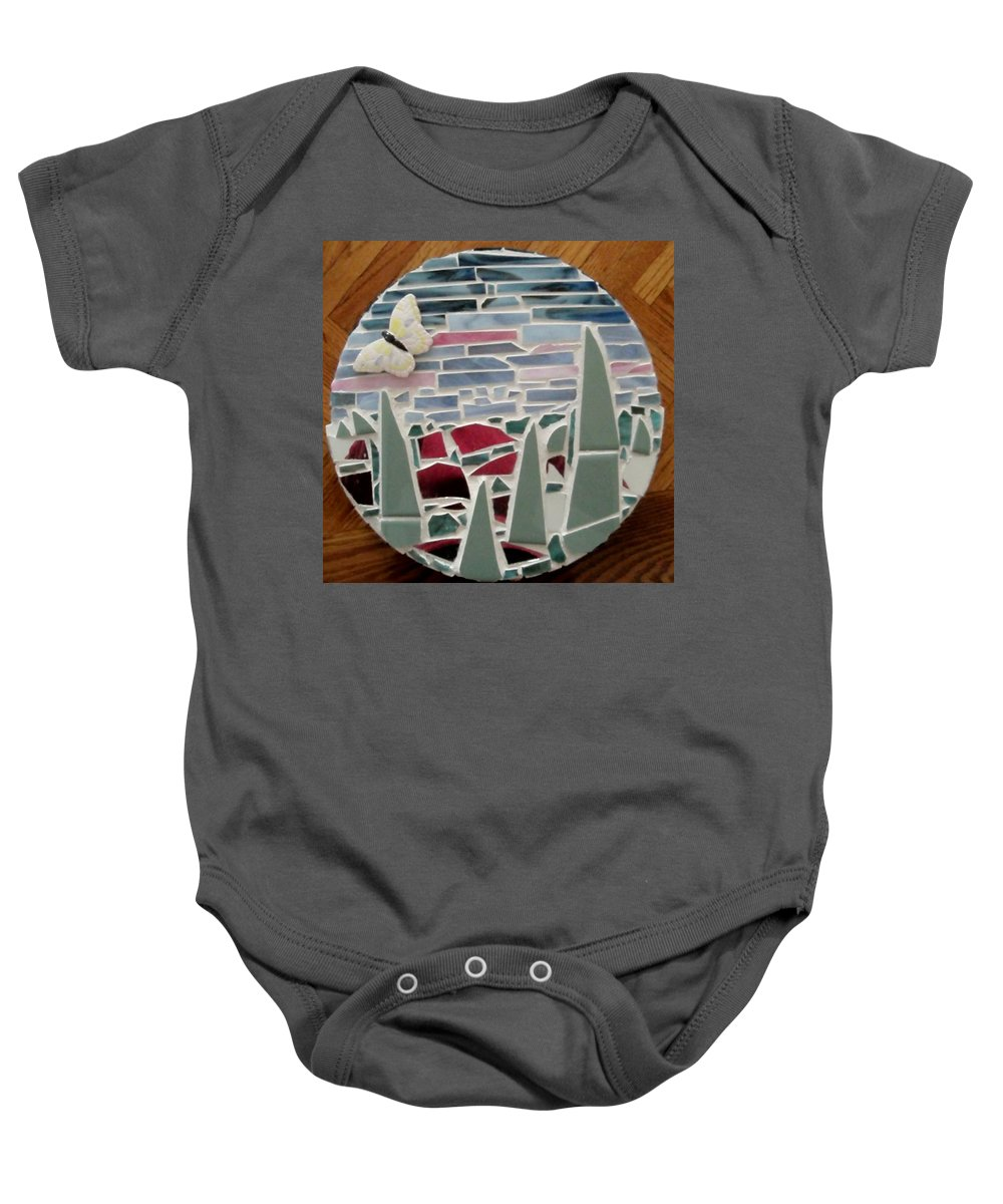 Mosaic Baby Onesie featuring the glass art Mosaic Sailboats by Jamie Frier