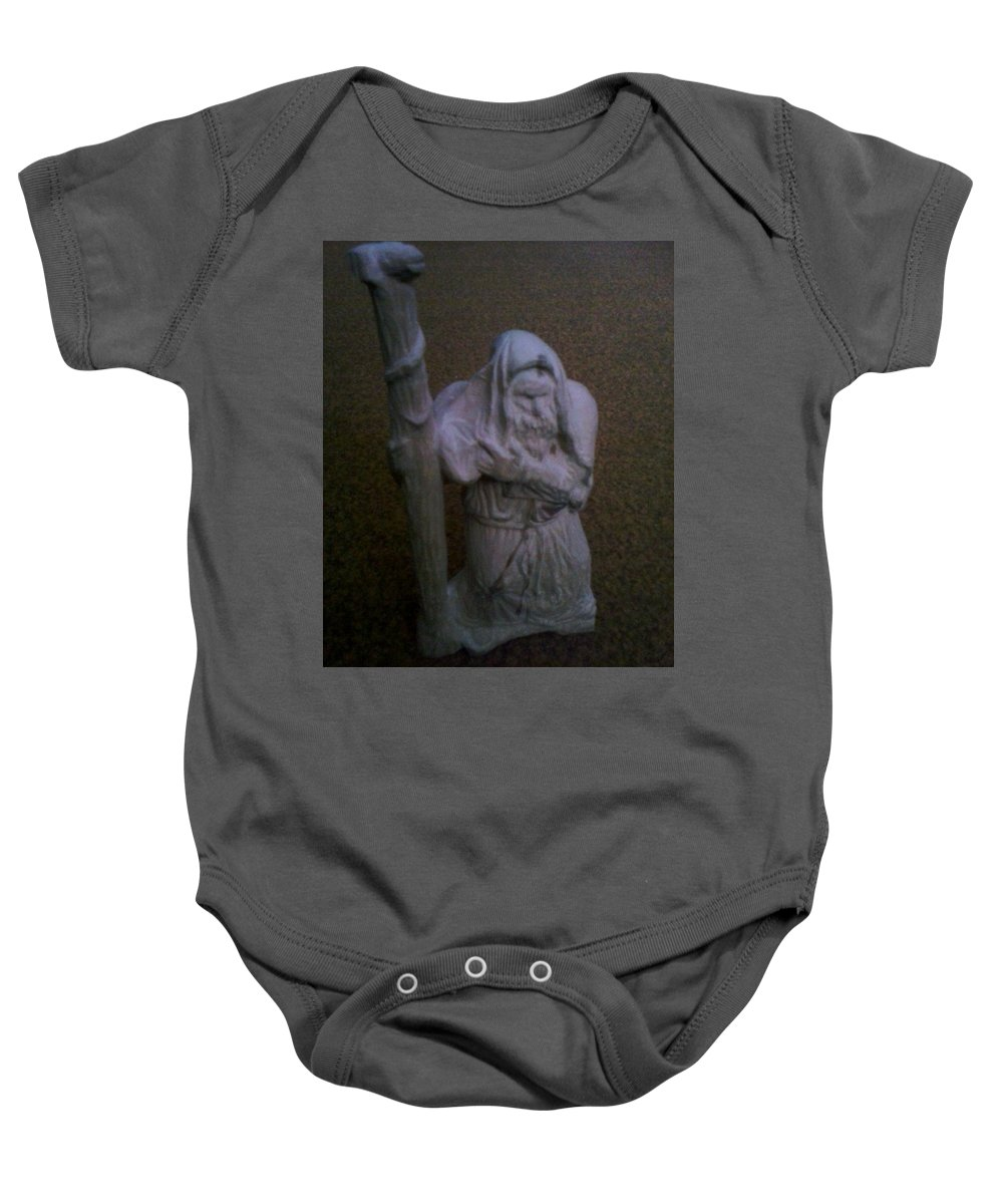 Moses Baby Onesie featuring the sculpture Moses by Artyom Ukhov