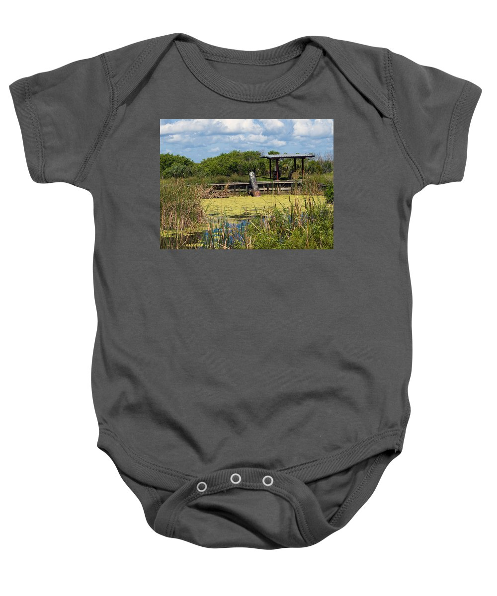 Florida; Mosquito; Coast; Flood; Flooding; Water; Salt; Marsh; Impoundment; Impound; Contain; Pond; Baby Onesie featuring the photograph Mosquito Impoundement In Florida by Allan Hughes