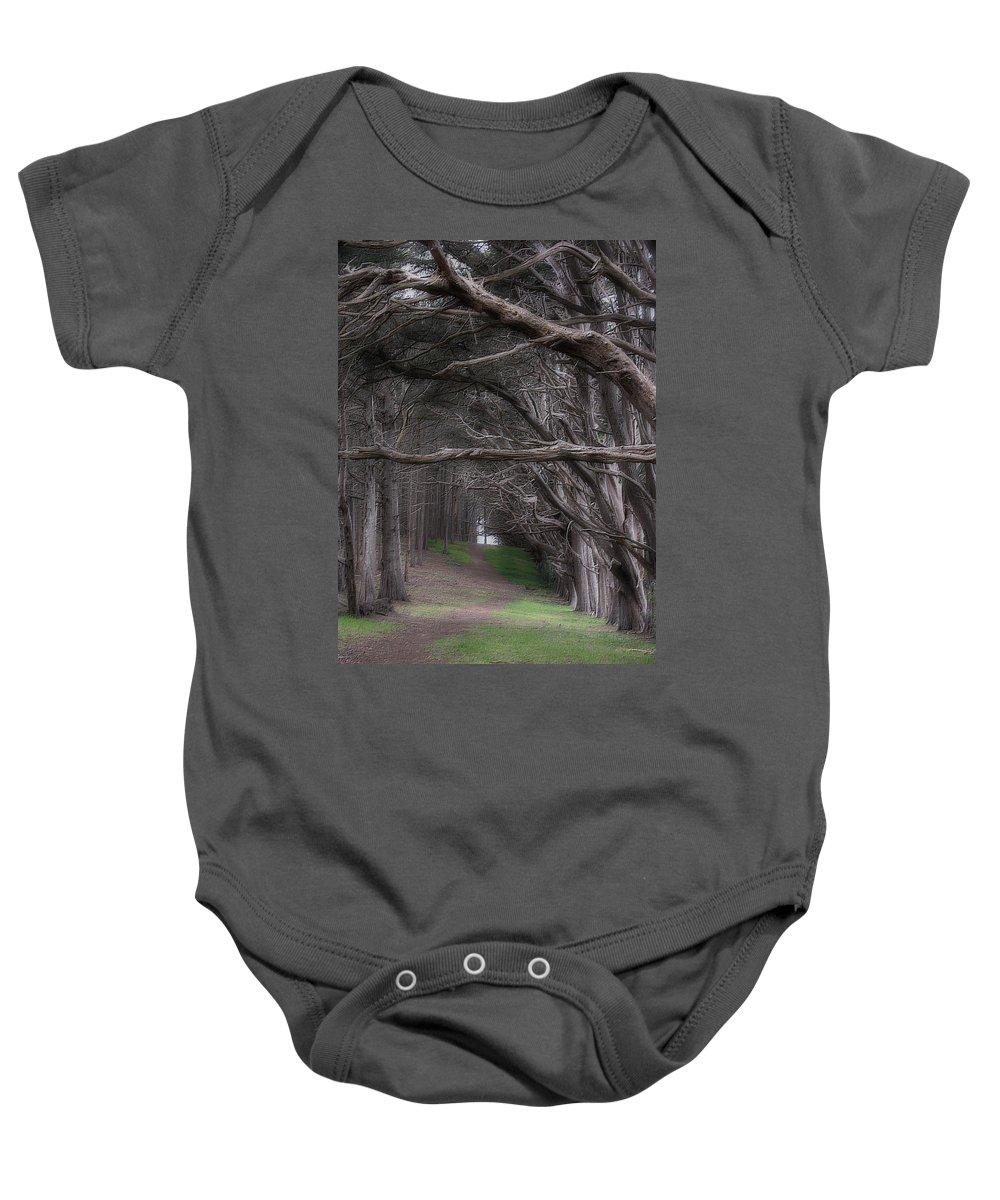Landscape Baby Onesie featuring the photograph Moss Beach Trees 4191 by Karen W Meyer