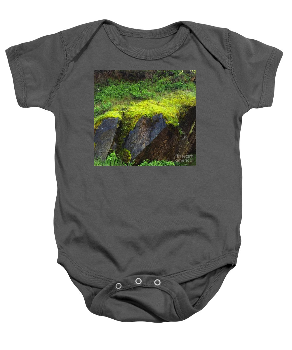 Nature Baby Onesie featuring the photograph Moss On Rocks by Paula Joy Welter