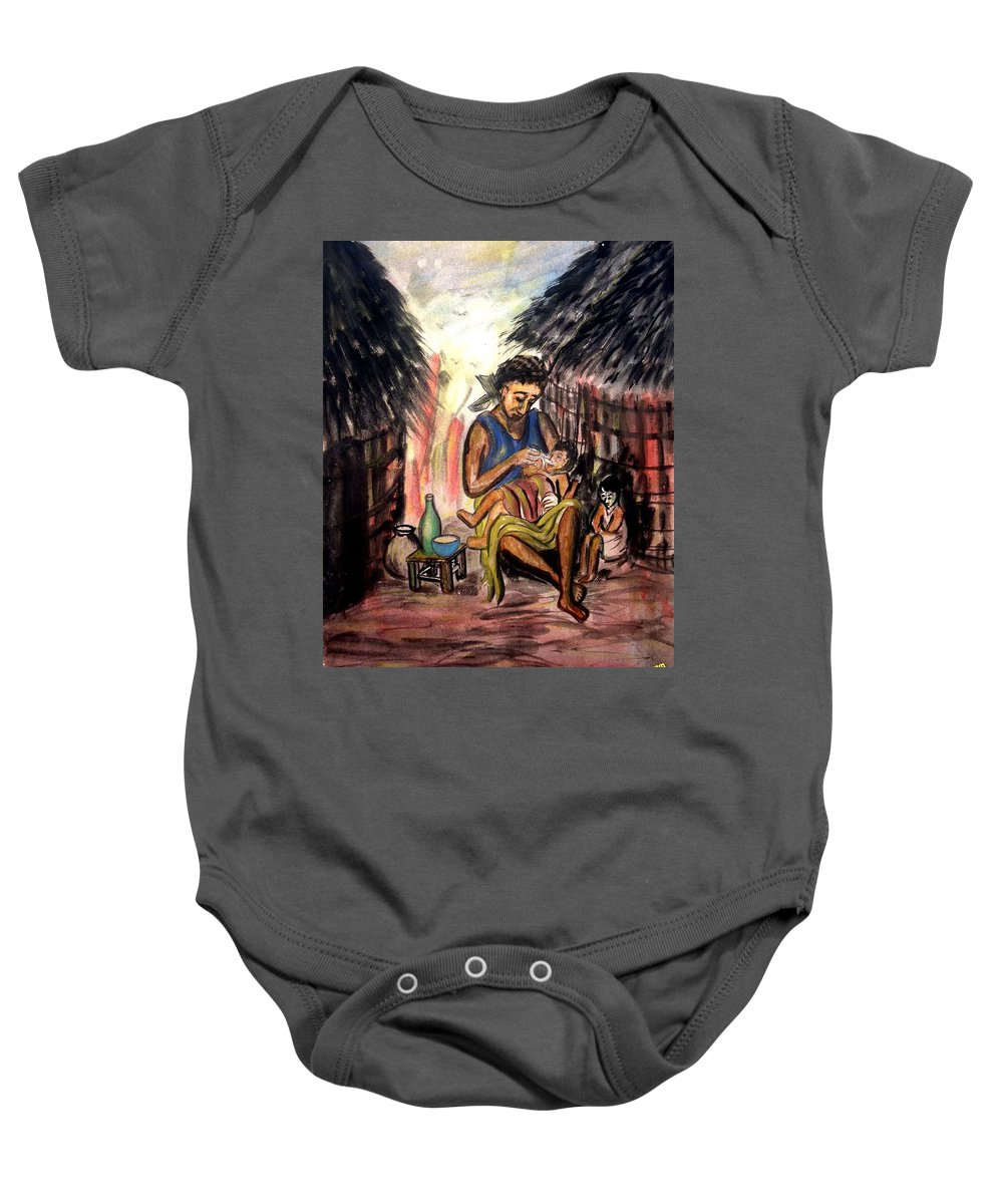 Mother Baby Onesie featuring the painting Mother And Children #1 by Mbonu Emerem