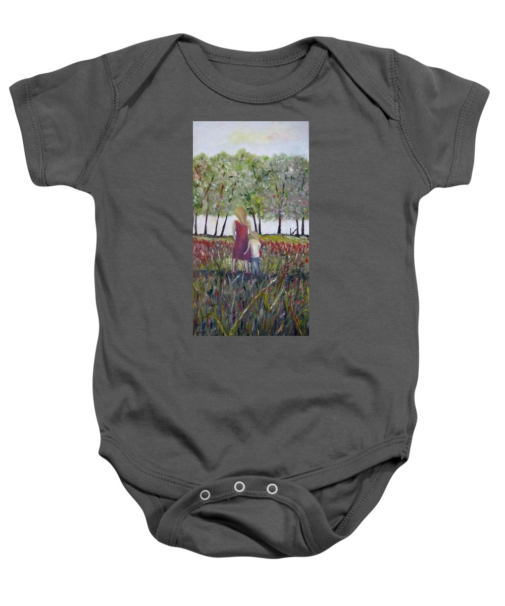 Mother And Son Baby Onesie featuring the painting Mother And Son by Marilyn McNish