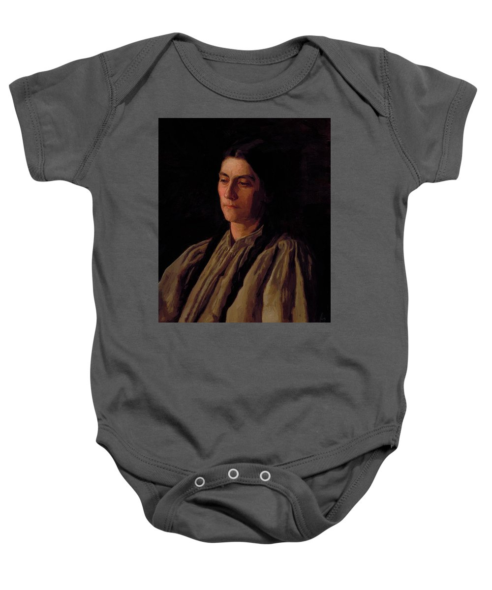 Mother Baby Onesie featuring the painting Mother Portrait Of Annie Williams Gandy by Eakins Thomas