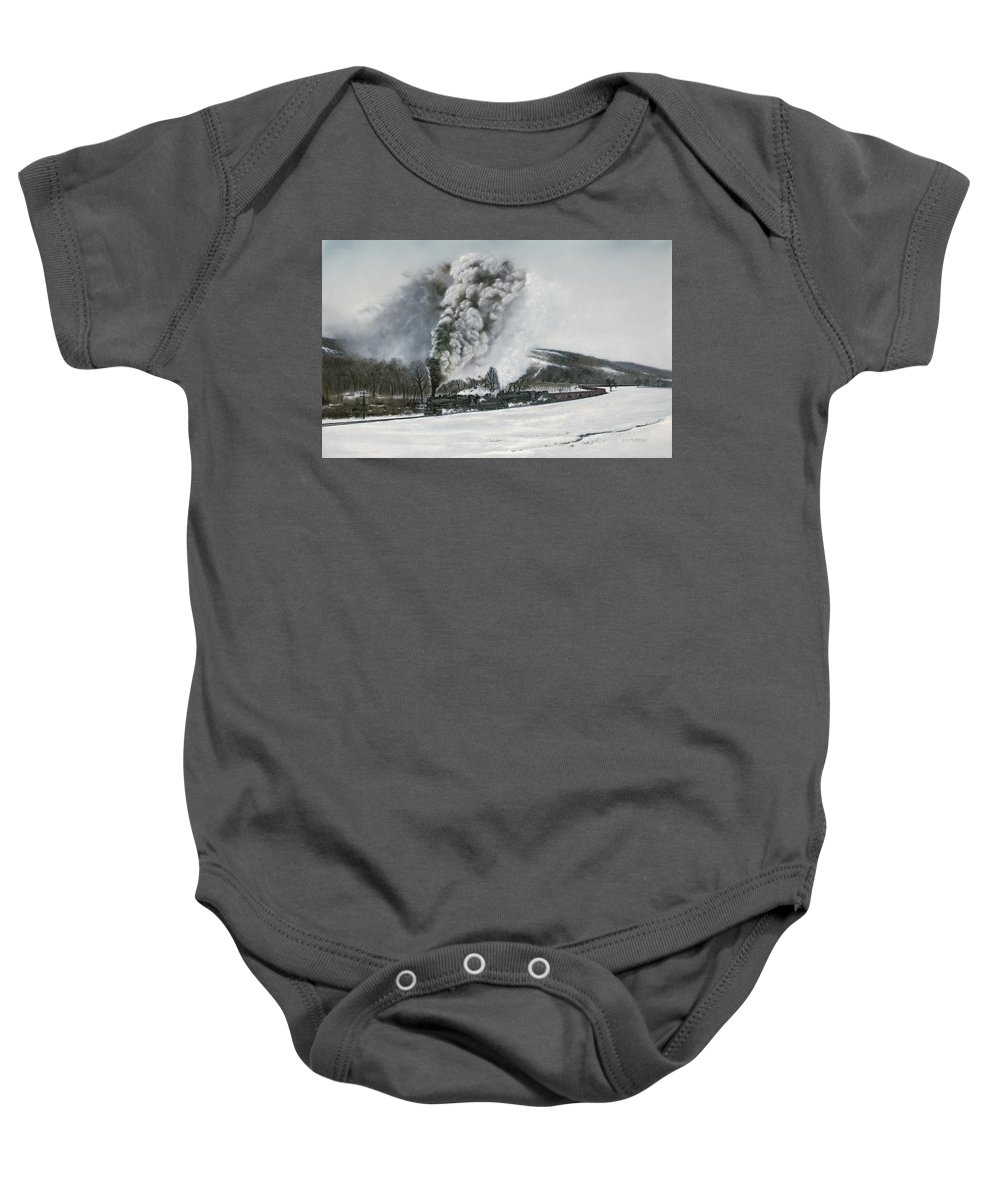 Trains Baby Onesie featuring the painting Mount Carmel Eruption by David Mittner