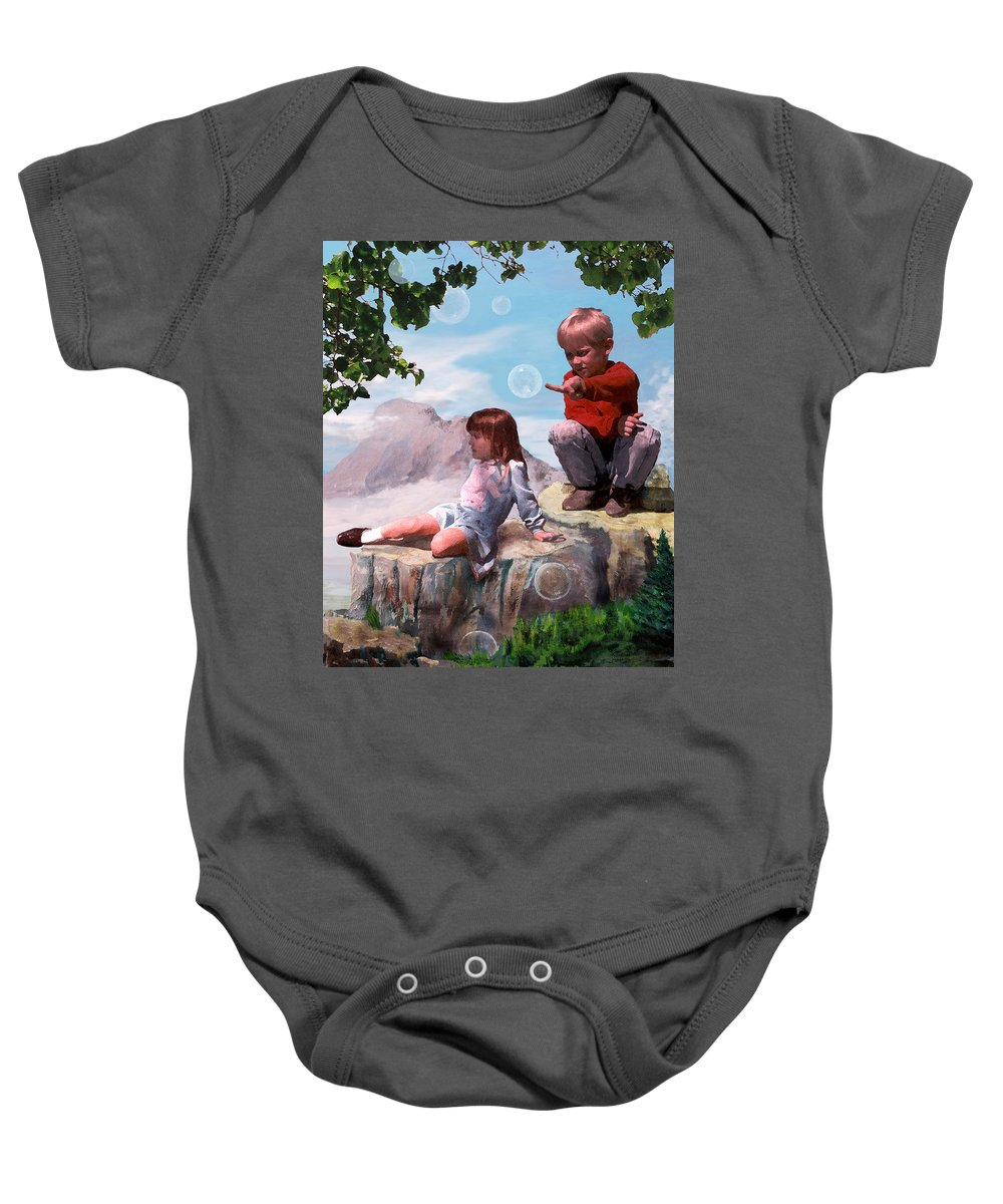 Landscape Baby Onesie featuring the painting Mount Innocence by Steve Karol