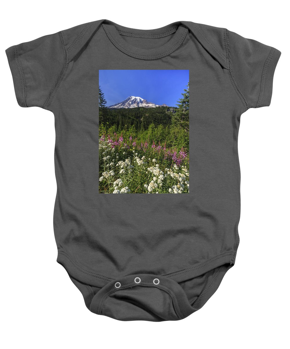 3scape Baby Onesie featuring the photograph Mount Rainier by Adam Romanowicz