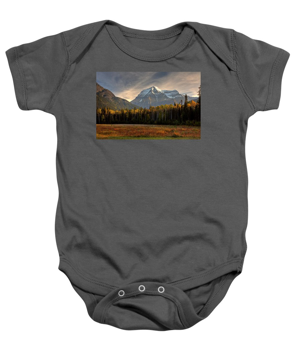 Meadow Baby Onesie featuring the digital art Mount Robson In Autumn by Mark Duffy