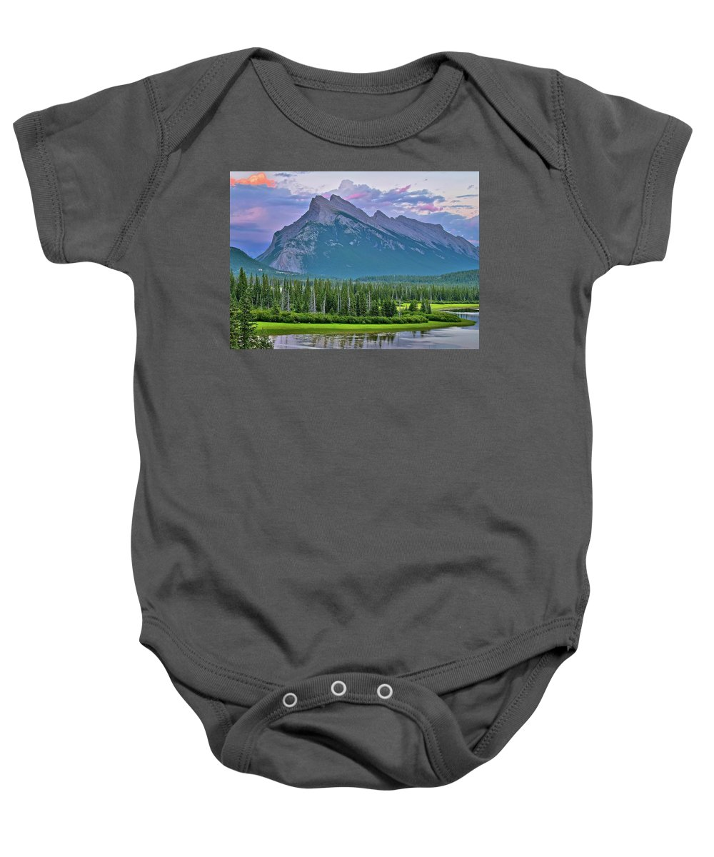 Mount Baby Onesie featuring the photograph Mount Rundle by Frozen in Time Fine Art Photography