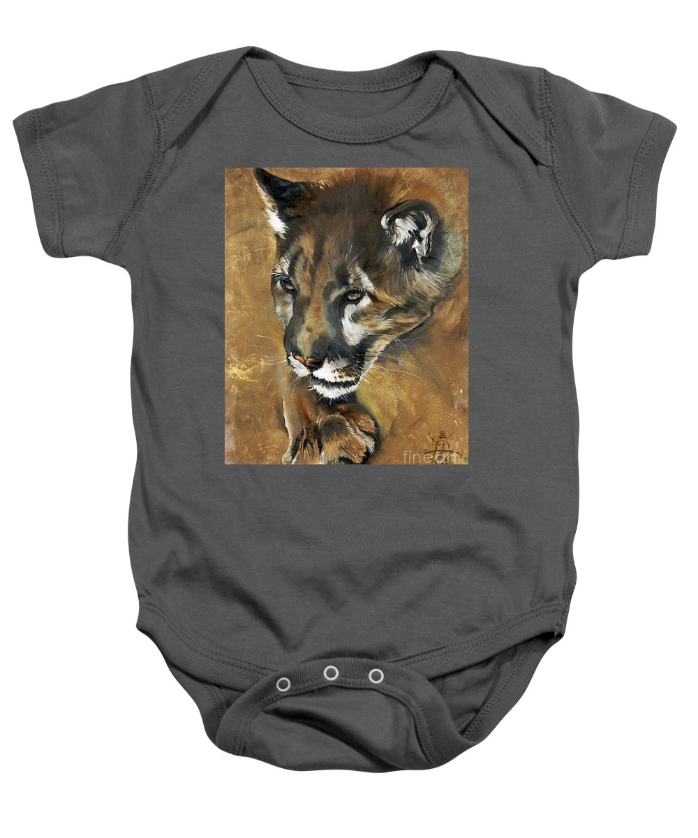 Southwest Art Baby Onesie featuring the painting Mountain Lion - Guardian Of The North by J W Baker