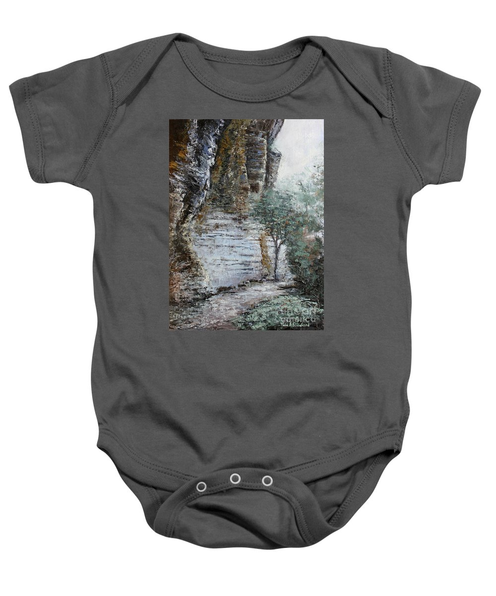 Landscape Baby Onesie featuring the painting Mountain Pass by Todd A Blanchard