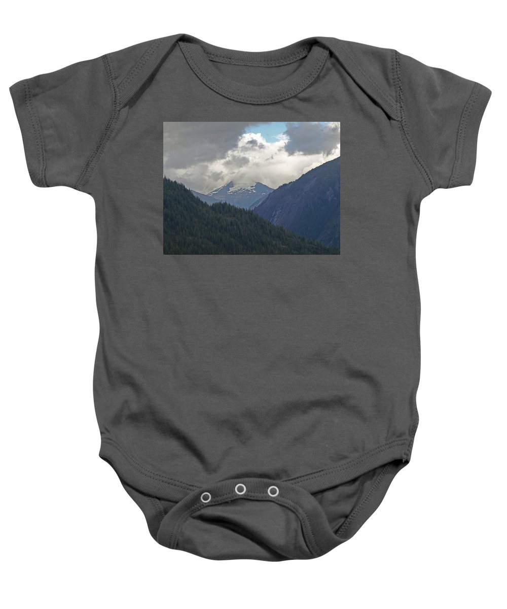 Glacier Baby Onesie featuring the photograph Mountain Peaks by Terrie Stickle