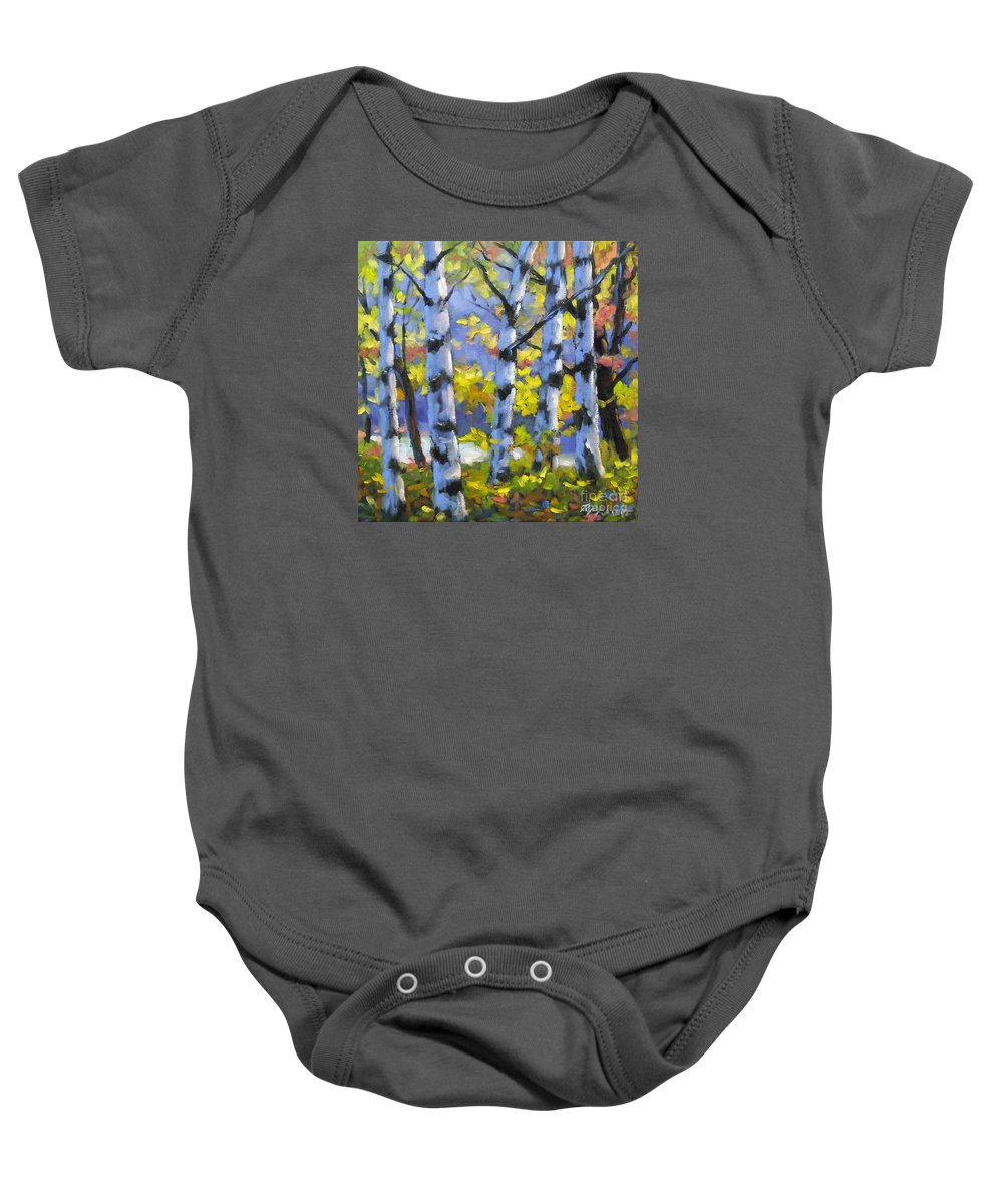 Art Baby Onesie featuring the painting Mountain View by Richard T Pranke