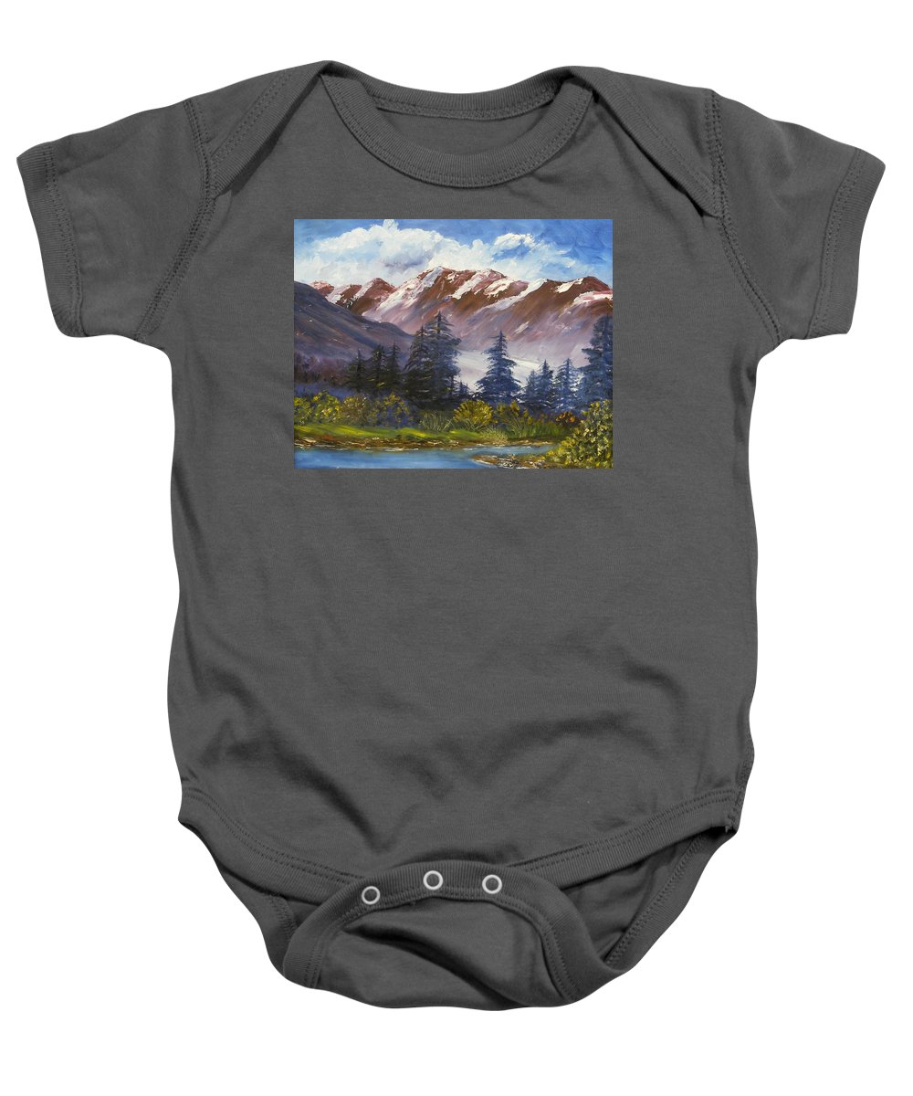 Oil Painting Baby Onesie featuring the painting Mountains I by Lessandra Grimley