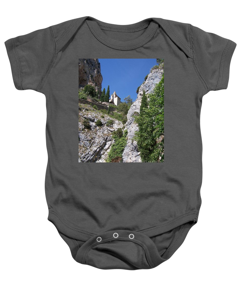 Church Baby Onesie featuring the photograph Moustier St. Marie Church by Nadine Rippelmeyer