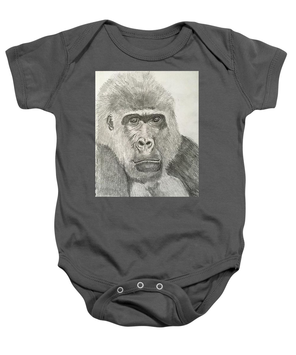 Ape Baby Onesie featuring the drawing Mr Bananas by D Angelico