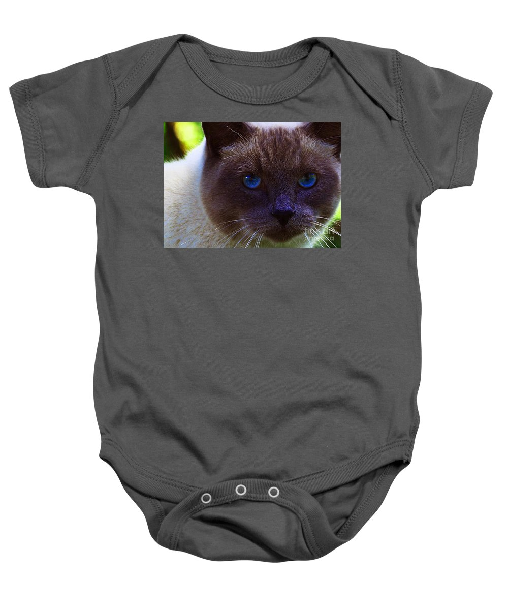 Blue Eyes Baby Onesie featuring the photograph Mr. Blue Eyes by Sharon Talson