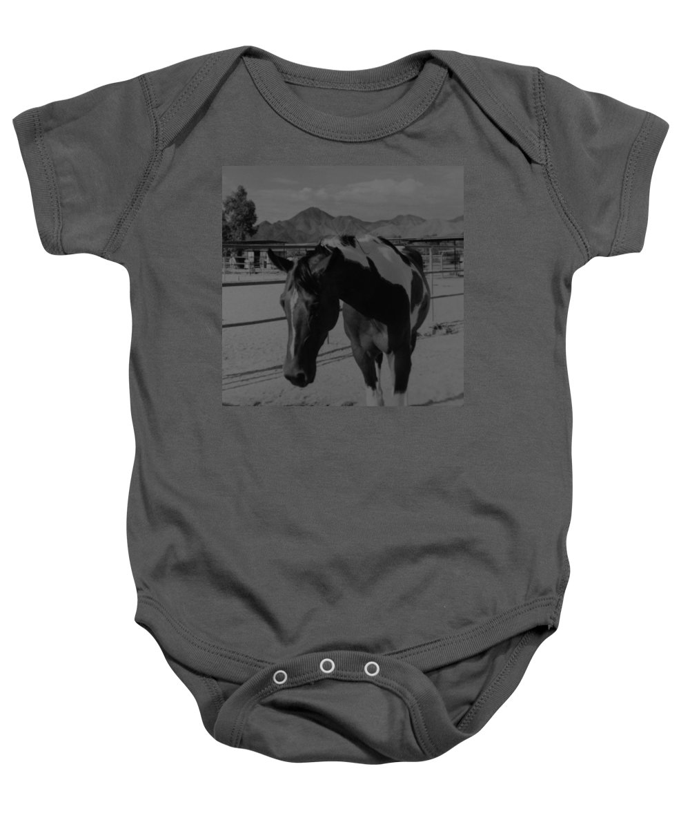 Black And White Baby Onesie featuring the photograph Mr Ed In Black And White by Rob Hans
