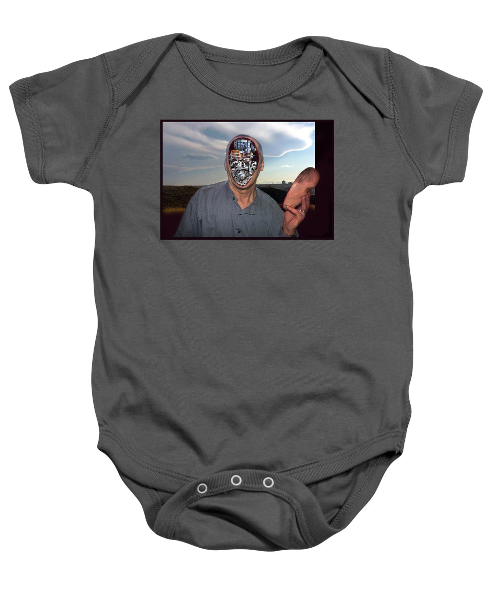 Surrealism Baby Onesie featuring the digital art Mr. Robot-otto by Otto Rapp