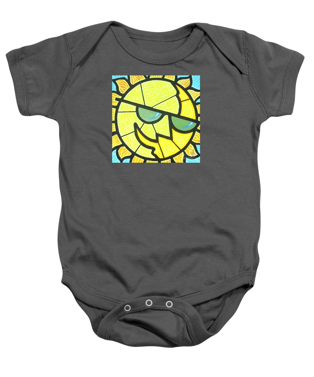 Sunshine Baby Onesie featuring the painting Mr Sunny Day by Jim Harris