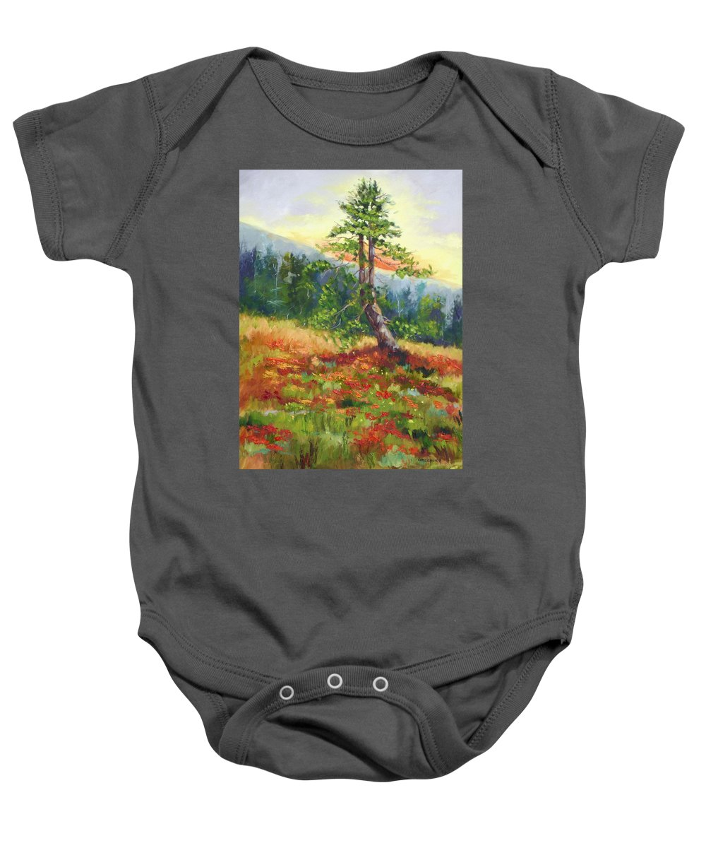Mt.jumbo Tree Baby Onesie featuring the painting Mt. Jumbo Tree Ak by Ginger Concepcion