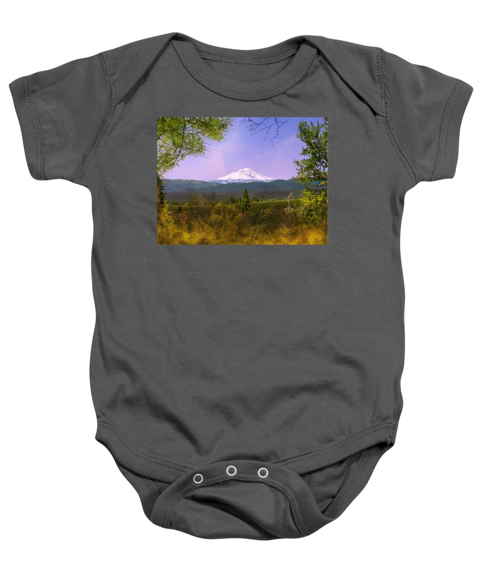 Landscapes Baby Onesie featuring the photograph Mt. Shasta by Karen W Meyer