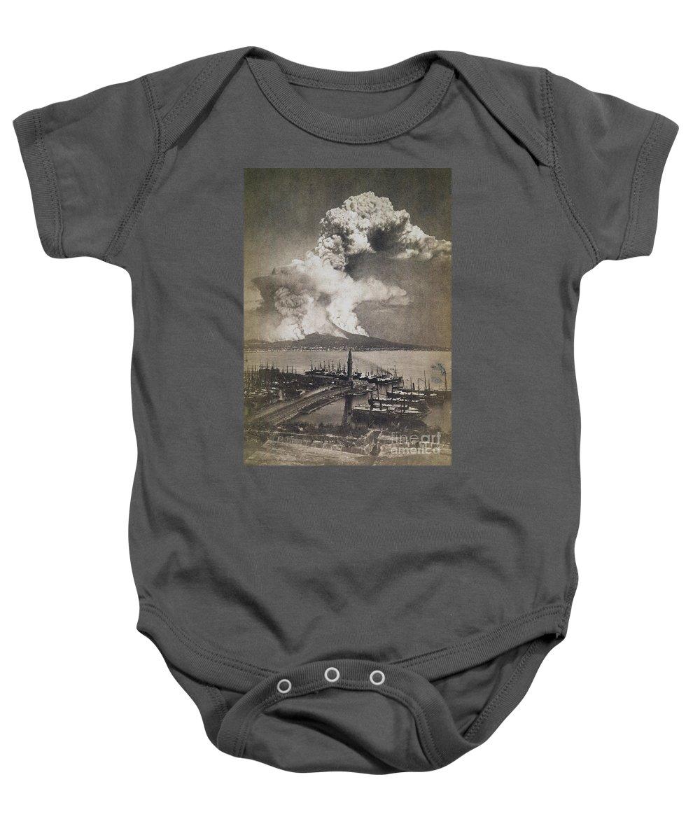 1872 Baby Onesie featuring the photograph Mt. Vesuvius Erupting by Granger