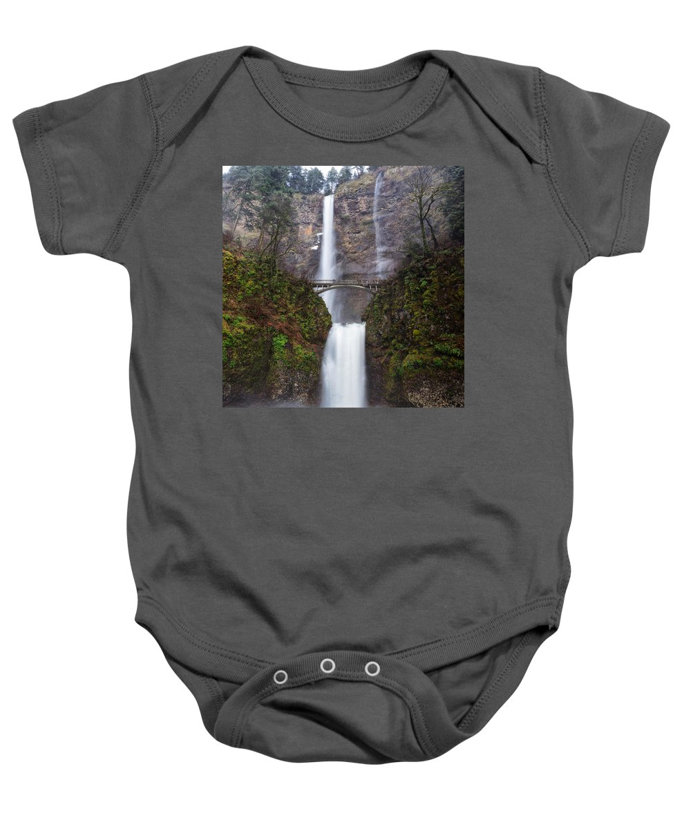 Clearwater Falls Baby Onesie featuring the photograph Multnomah Falls 3 by Ingrid Smith-Johnsen