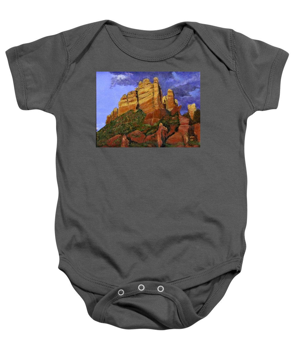 Arizona Baby Onesie featuring the painting Munds Mountain by Jamie Frier
