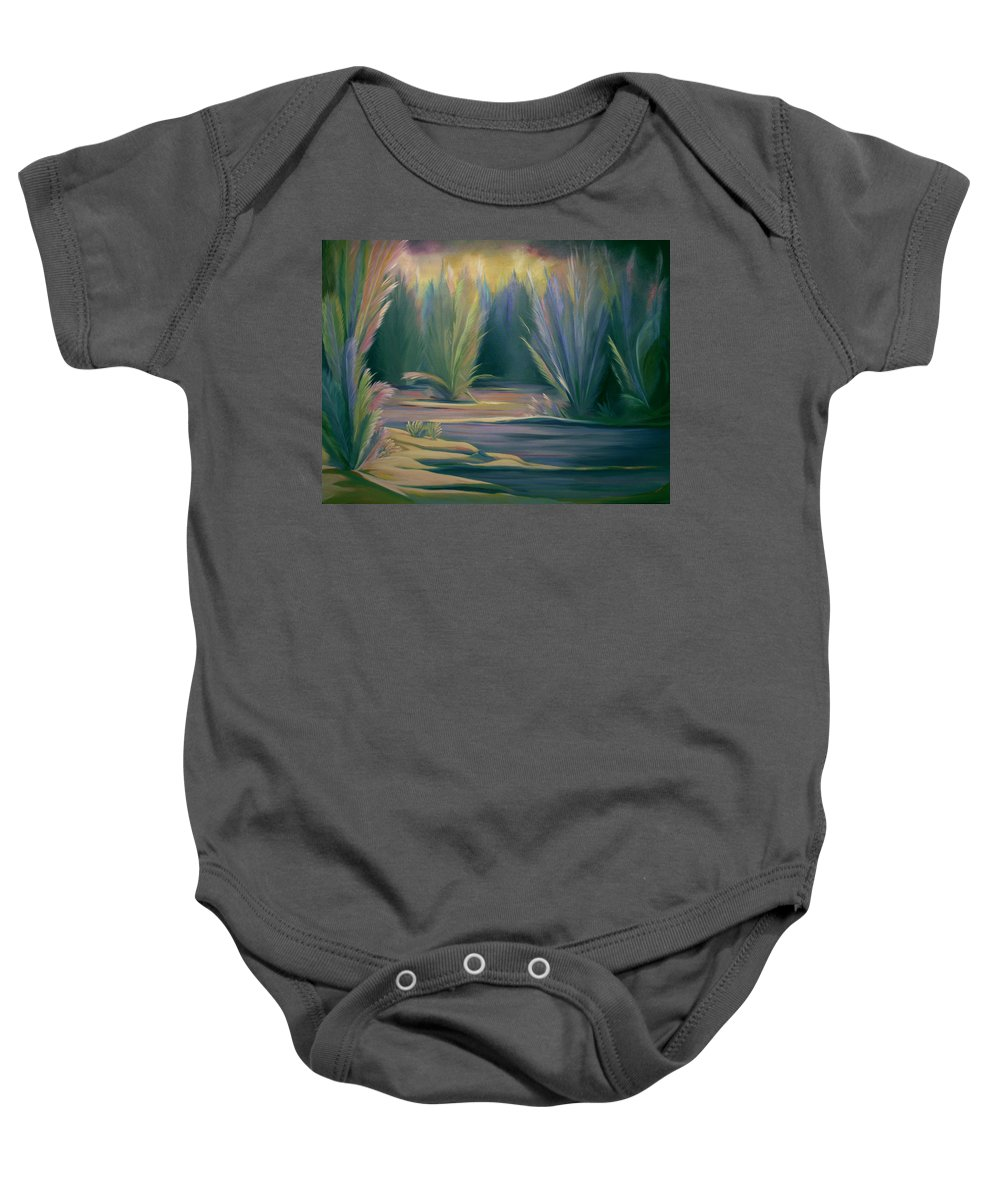 Feathers Baby Onesie featuring the painting Mural Field of Feathers by Nancy Griswold